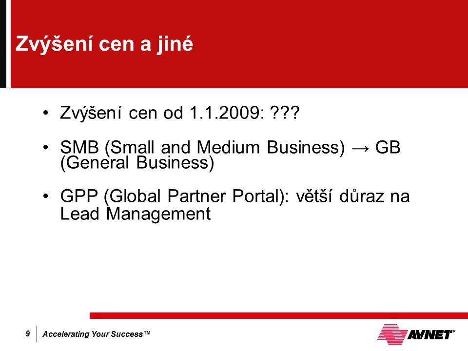 Accelerating Your Success™ 9 Zvýšení cen a jiné Zvýšení cen od 1.1.2009: .