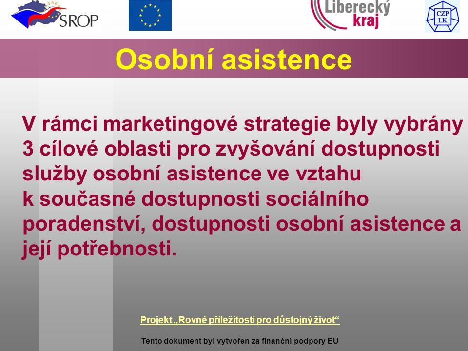 """Projekt """"Rovné příležitosti pro důstojný život Tento dokument byl vytvořen za finanční podpory EU Osobní asistence V rámci marketingové strategie byly vybrány 3 cílové oblasti pro zvyšování dostupnosti služby osobní asistence ve vztahu k současné dostupnosti sociálního poradenství, dostupnosti osobní asistence a její potřebnosti."""