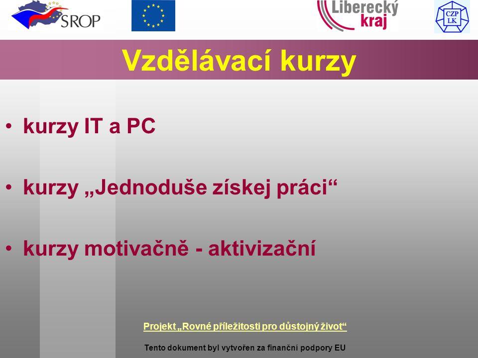 """Projekt """"Rovné příležitosti pro důstojný život Tento dokument byl vytvořen za finanční podpory EU Vzdělávací kurzy kurzy IT a PC kurzy """"Jednoduše získej práci kurzy motivačně - aktivizační"""