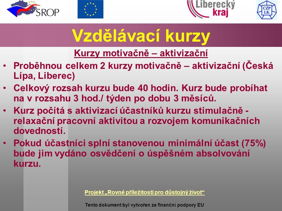 """Projekt """"Rovné příležitosti pro důstojný život Tento dokument byl vytvořen za finanční podpory EU Vzdělávací kurzy Kurzy motivačně – aktivizační Proběhnou celkem 2 kurzy motivačně – aktivizační (Česká Lípa, Liberec) Celkový rozsah kurzu bude 40 hodin."""