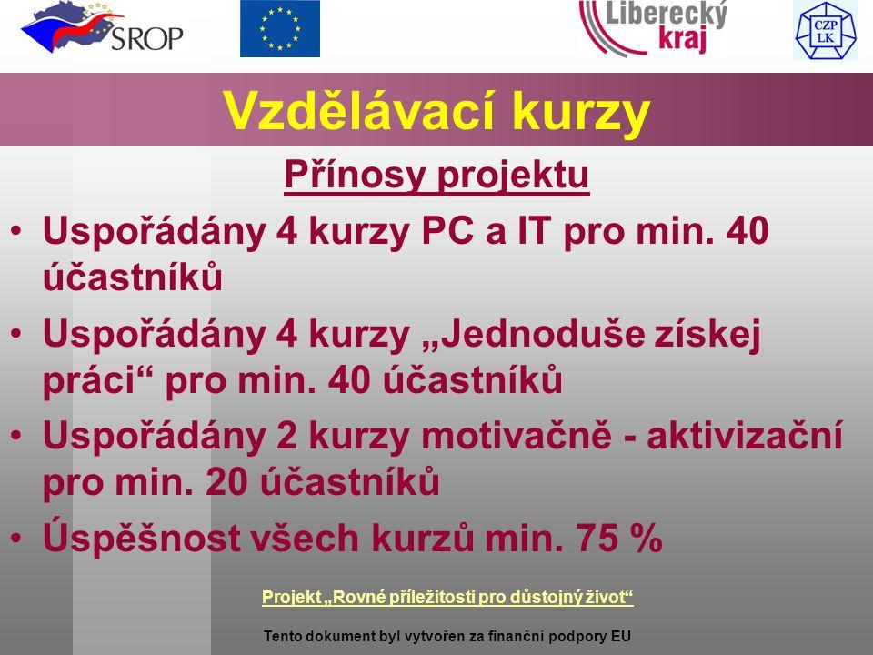 """Projekt """"Rovné příležitosti pro důstojný život Tento dokument byl vytvořen za finanční podpory EU Vzdělávací kurzy Přínosy projektu Uspořádány 4 kurzy PC a IT pro min."""