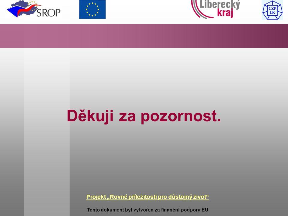 """Projekt """"Rovné příležitosti pro důstojný život Tento dokument byl vytvořen za finanční podpory EU Děkuji za pozornost."""