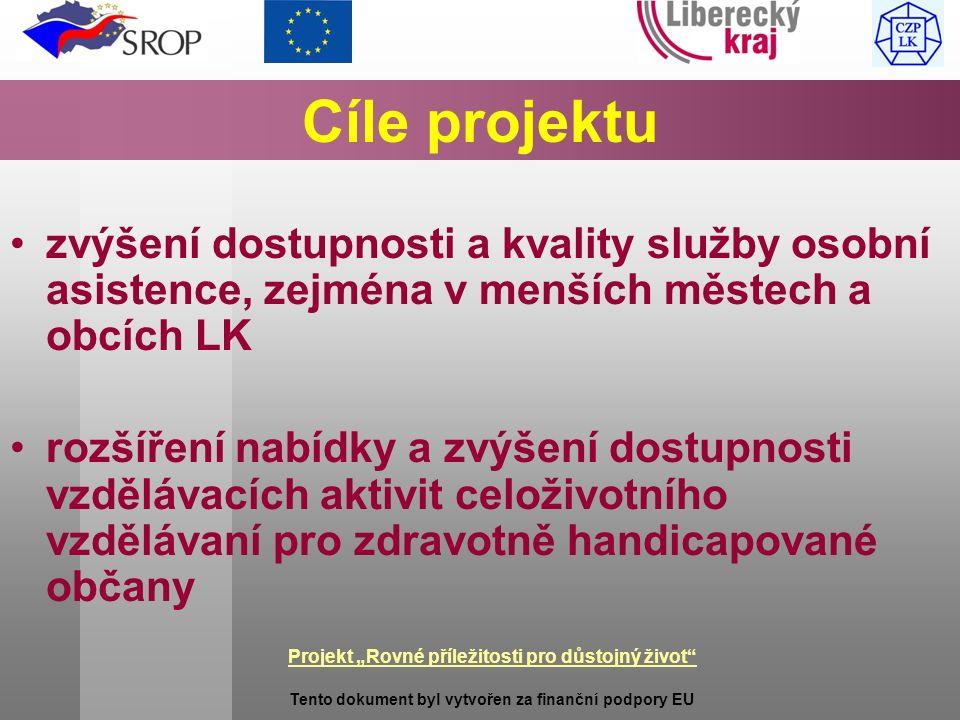 """Projekt """"Rovné příležitosti pro důstojný život Tento dokument byl vytvořen za finanční podpory EU Cíle projektu zvýšení dostupnosti a kvality služby osobní asistence, zejména v menších městech a obcích LK rozšíření nabídky a zvýšení dostupnosti vzdělávacích aktivit celoživotního vzdělávaní pro zdravotně handicapované občany"""