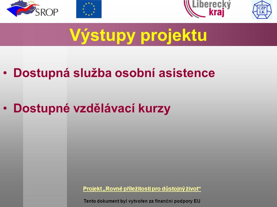 """Projekt """"Rovné příležitosti pro důstojný život Tento dokument byl vytvořen za finanční podpory EU Výstupy projektu Dostupná služba osobní asistence Dostupné vzdělávací kurzy"""