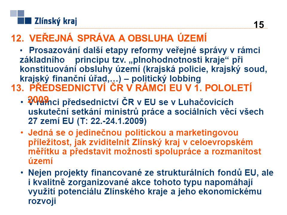 V rámci předsednictví ČR v EU se v Luhačovicích uskuteční setkání ministrů práce a sociálních věcí všech 27 zemí EU (T: 22.-24.1.2009) Jedná se o jedinečnou politickou a marketingovou příležitost, jak zviditelnit Zlínský kraj v celoevropském měřítku a představit možnosti spolupráce a rozmanitost území Nejen projekty financované ze strukturálních fondů EU, ale i kvalitně zorganizované akce tohoto typu napomáhají využití potenciálu Zlínského kraje a jeho ekonomickému rozvoji 12.
