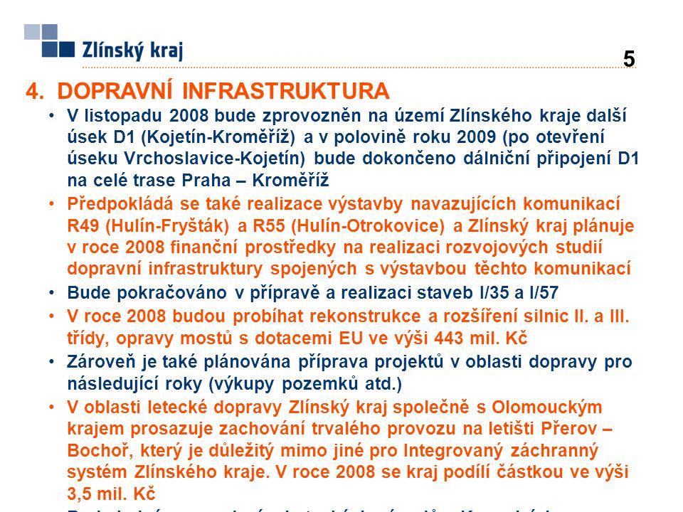 V listopadu 2008 bude zprovozněn na území Zlínského kraje další úsek D1 (Kojetín-Kroměříž) a v polovině roku 2009 (po otevření úseku Vrchoslavice-Kojetín) bude dokončeno dálniční připojení D1 na celé trase Praha – Kroměříž Předpokládá se také realizace výstavby navazujících komunikací R49 (Hulín-Fryšták) a R55 (Hulín-Otrokovice) a Zlínský kraj plánuje v roce 2008 finanční prostředky na realizaci rozvojových studií dopravní infrastruktury spojených s výstavbou těchto komunikací Bude pokračováno v přípravě a realizaci staveb I/35 a I/57 V roce 2008 budou probíhat rekonstrukce a rozšíření silnic II.
