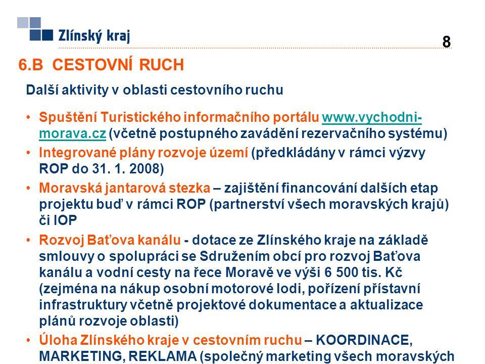 Další aktivity v oblasti cestovního ruchu Spuštění Turistického informačního portálu www.vychodni- morava.cz (včetně postupného zavádění rezervačního systému)www.vychodni- morava.cz Integrované plány rozvoje území (předkládány v rámci výzvy ROP do 31.
