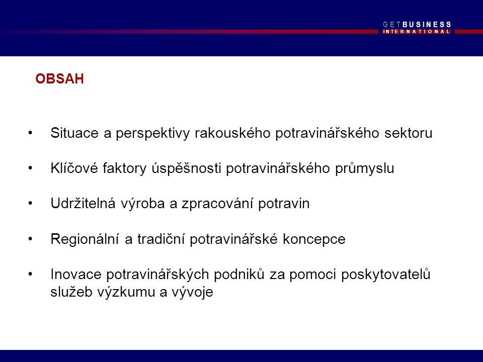 I N T E R N A T I O N A L G E T B U S I N E S SG E T B U S I N E S S Zdroj: Statistik Austria, FIAA, (2008) PŘEHLED RAKOUSKÉHO POTRAVINÁŘSKÉHO SEKTORU V ROCE 2007 2 0 0 72006/2007 v % Hodnota produkce (v mil.