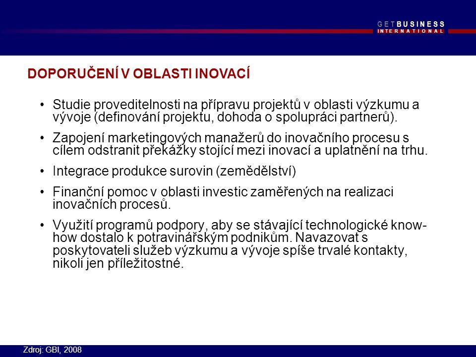I N T E R N A T I O N A L G E T B U S I N E S SG E T B U S I N E S S Studie proveditelnosti na přípravu projektů v oblasti výzkumu a vývoje (definování projektu, dohoda o spolupráci partnerů).