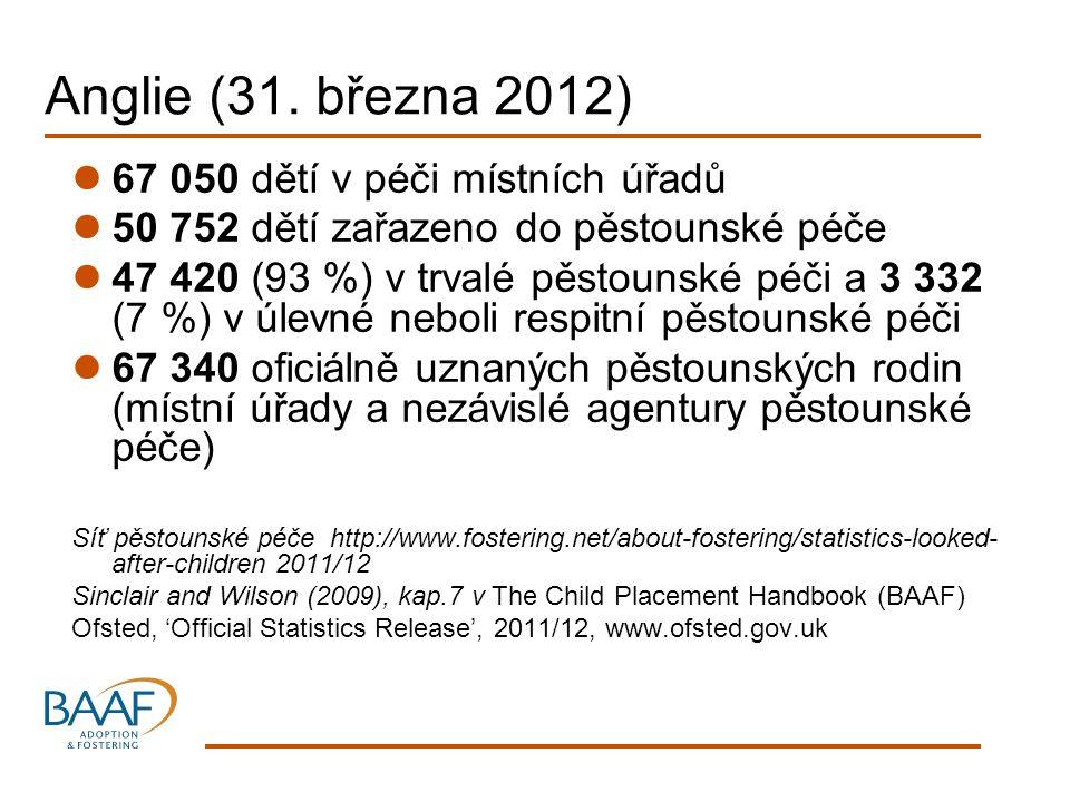 Anglie (31. března 2012) 67 050 dětí v péči místních úřadů 50 752 dětí zařazeno do pěstounské péče 47 420 (93 %) v trvalé pěstounské péči a 3 332 (7 %