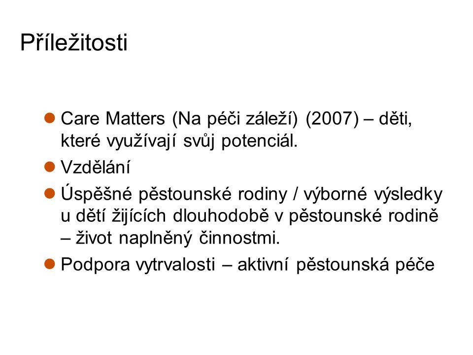 Příležitosti Care Matters (Na péči záleží) (2007) – děti, které využívají svůj potenciál. Vzdělání Úspěšné pěstounské rodiny / výborné výsledky u dětí