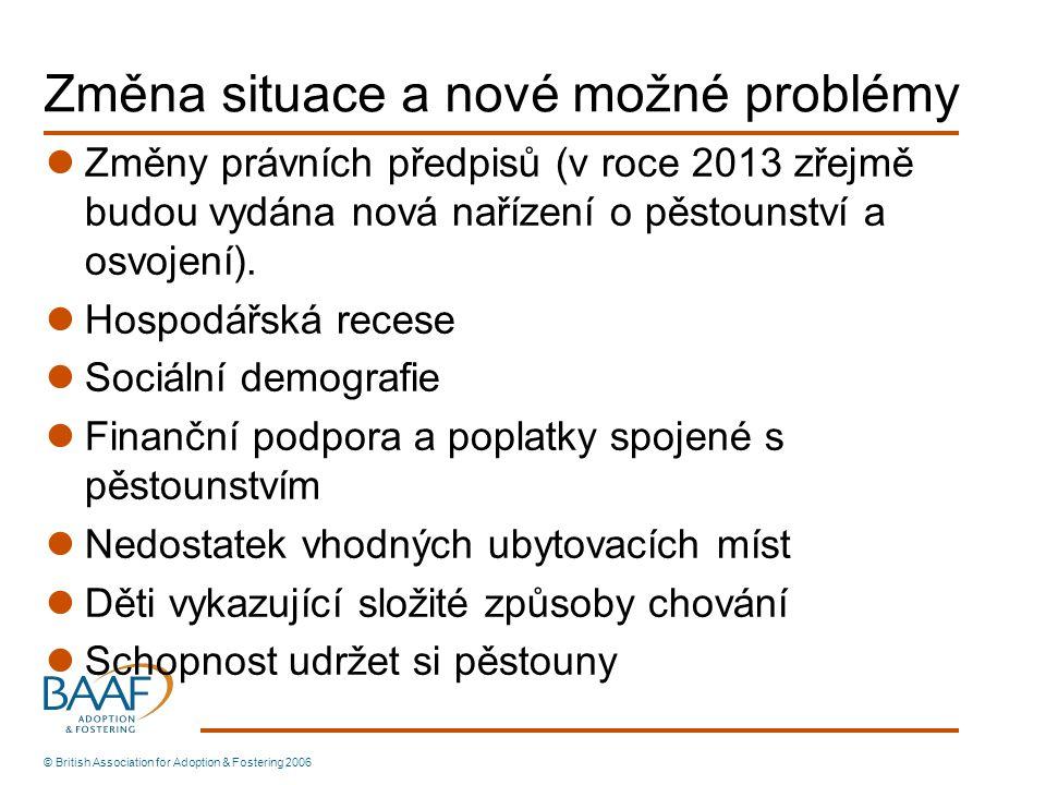 Změna situace a nové možné problémy Změny právních předpisů (v roce 2013 zřejmě budou vydána nová nařízení o pěstounství a osvojení). Hospodářská rece