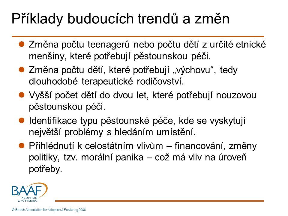 Příklady budoucích trendů a změn Změna počtu teenagerů nebo počtu dětí z určité etnické menšiny, které potřebují pěstounskou péči.