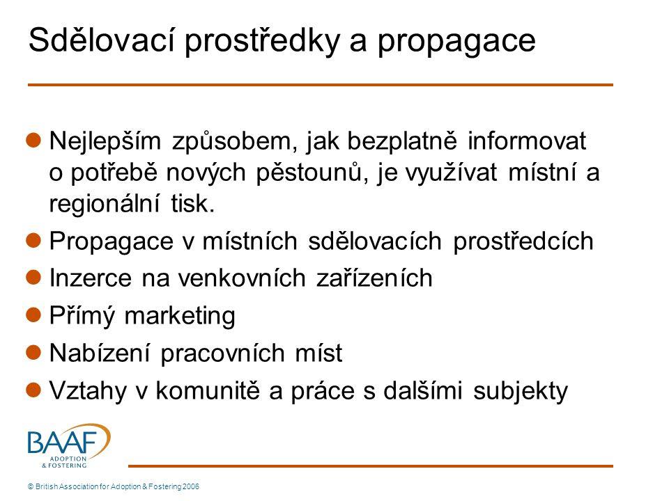 Sdělovací prostředky a propagace Nejlepším způsobem, jak bezplatně informovat o potřebě nových pěstounů, je využívat místní a regionální tisk. Propaga