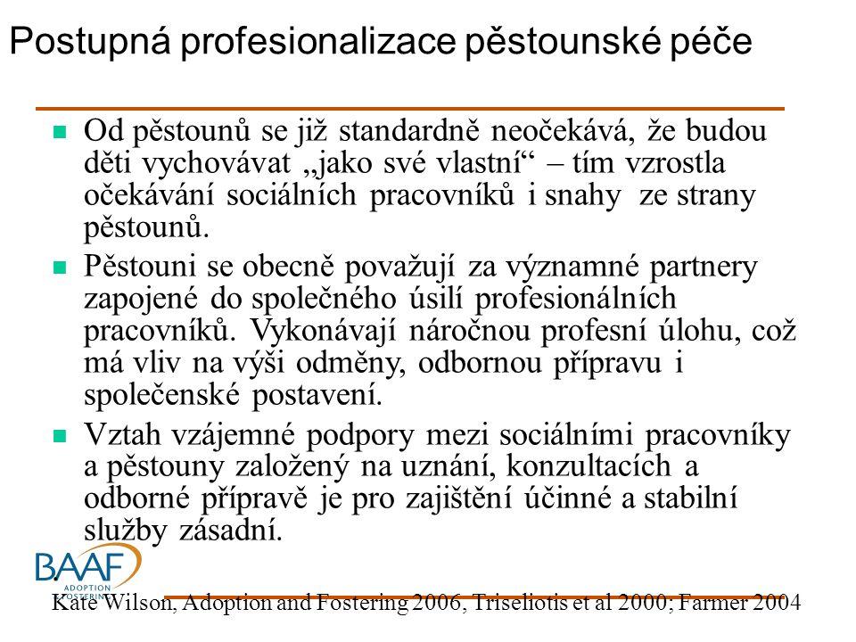 """Postupná profesionalizace pěstounské péče Od pěstounů se již standardně neočekává, že budou děti vychovávat """"jako své vlastní – tím vzrostla očekávání sociálních pracovníků i snahy ze strany pěstounů."""