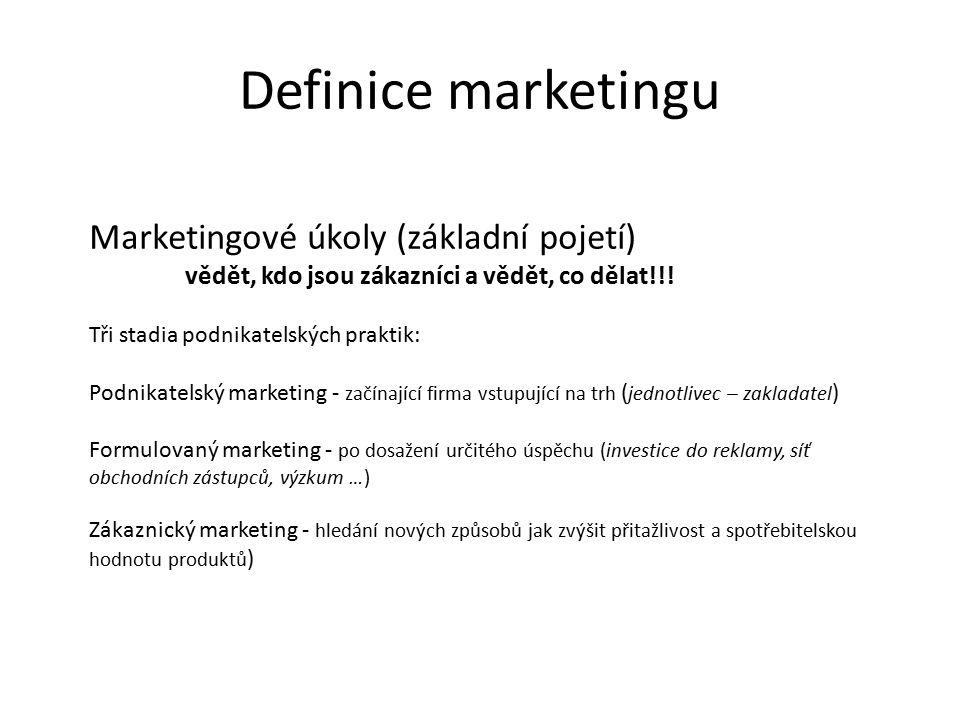Marketingové úkoly (základní pojetí) vědět, kdo jsou zákazníci a vědět, co dělat!!.