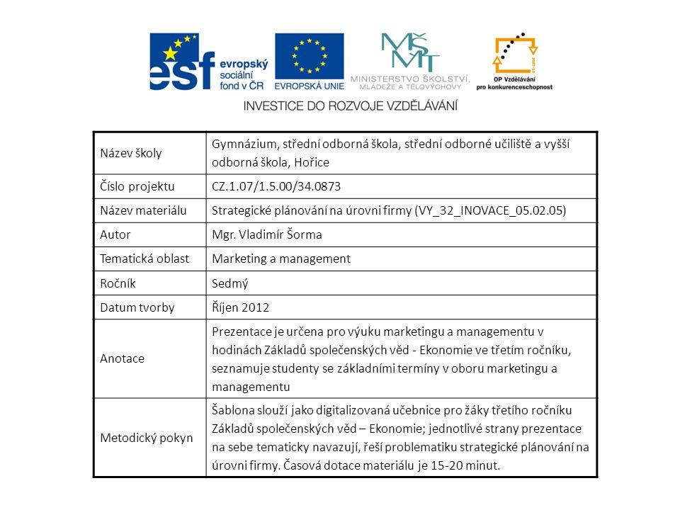 Název školy Gymnázium, střední odborná škola, střední odborné učiliště a vyšší odborná škola, Hořice Číslo projektuCZ.1.07/1.5.00/34.0873 Název materiáluStrategické plánování na úrovni firmy (VY_32_INOVACE_05.02.05) AutorMgr.