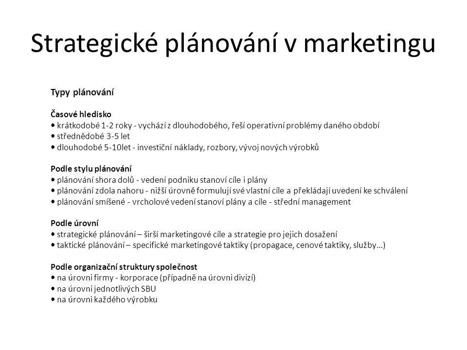Strategické plánování v marketingu Typy plánování Časové hledisko krátkodobé 1-2 roky - vychází z dlouhodobého, řeší operativní problémy daného období střednědobé 3-5 let dlouhodobé 5-10let - investiční náklady, rozbory, vývoj nových výrobků Podle stylu plánování plánování shora dolů - vedení podniku stanoví cíle i plány plánování zdola nahoru - nižší úrovně formulují své vlastní cíle a překládají uvedení ke schválení plánování smíšené - vrcholové vedení stanoví plány a cíle - střední management Podle úrovní strategické plánování – širší marketingové cíle a strategie pro jejich dosažení taktické plánování – specifické marketingové taktiky (propagace, cenové taktiky, služby…) Podle organizační struktury společnost na úrovni firmy - korporace (případně na úrovni divizí) na úrovni jednotlivých SBU na úrovni každého výrobku