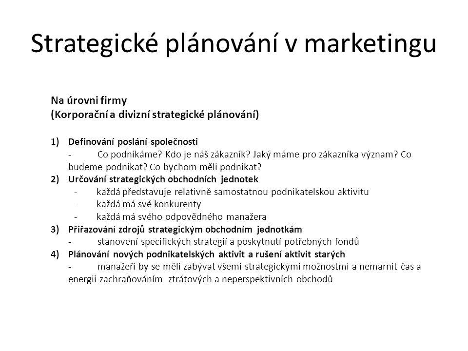 Strategické plánování v marketingu Na úrovni firmy (Korporační a divizní strategické plánování) 1)Definování poslání společnosti -Co podnikáme.