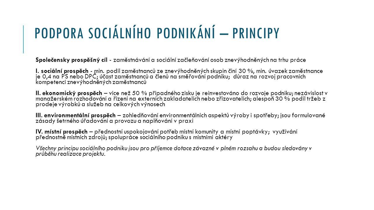 PODPORA SOCIÁLNÍHO PODNIKÁNÍ – PRINCIPY Společensky prospěšný cíl - zaměstnávání a sociální začleňování osob znevýhodněných na trhu práce I.