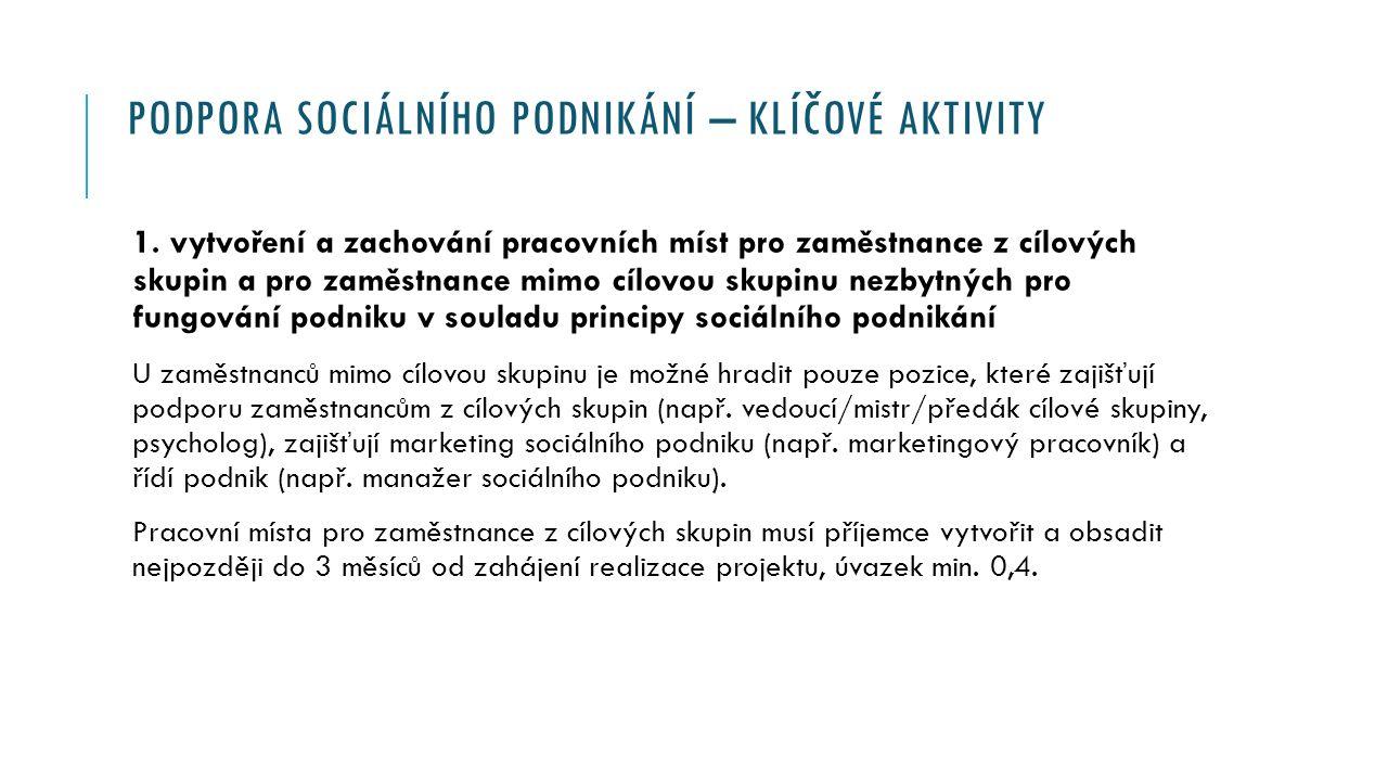 PODPORA SOCIÁLNÍHO PODNIKÁNÍ – KLÍČOVÉ AKTIVITY 1.
