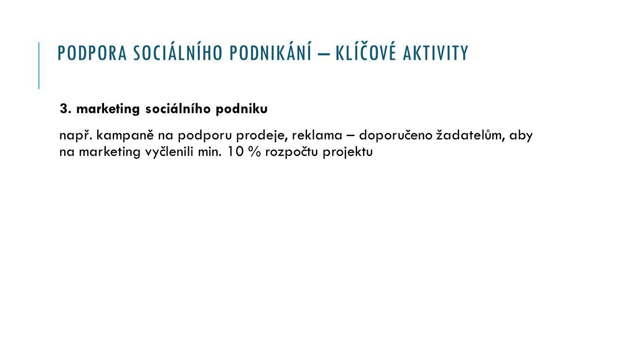PODPORA SOCIÁLNÍHO PODNIKÁNÍ – KLÍČOVÉ AKTIVITY 3.