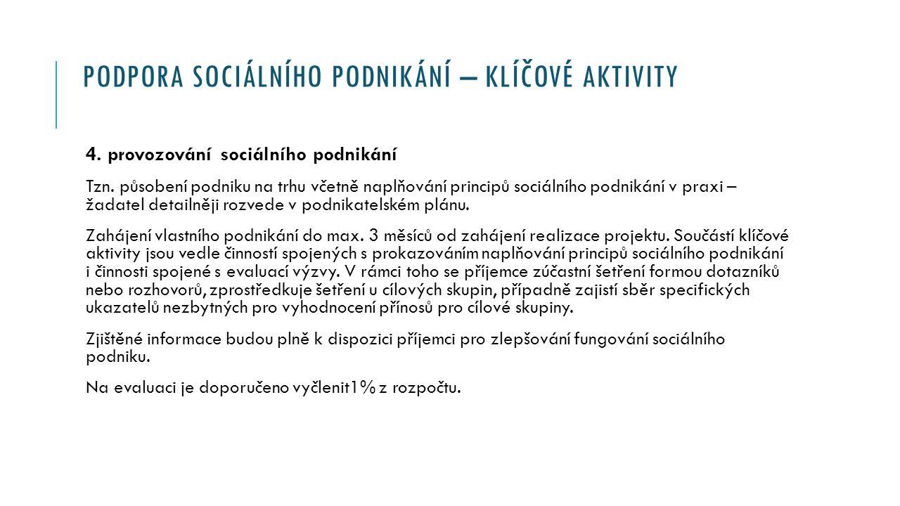 PODPORA SOCIÁLNÍHO PODNIKÁNÍ – KLÍČOVÉ AKTIVITY 4.