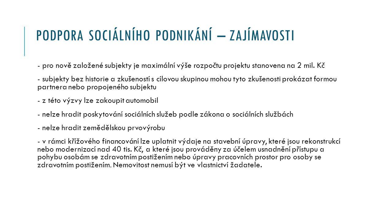 PODPORA SOCIÁLNÍHO PODNIKÁNÍ – ZAJÍMAVOSTI - pro nově založené subjekty je maximální výše rozpočtu projektu stanovena na 2 mil.