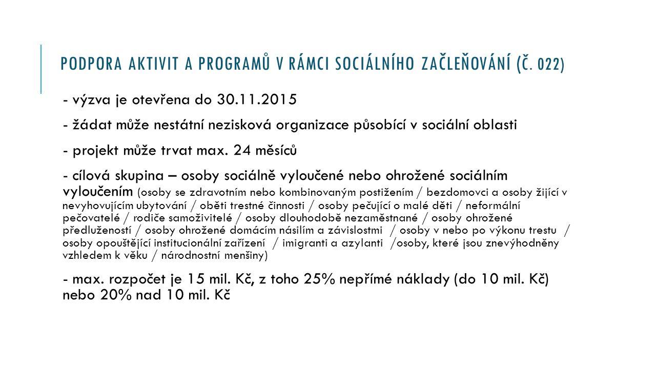 PODPORA AKTIVIT A PROGRAMŮ V RÁMCI SOCIÁLNÍHO ZAČLEŇOVÁNÍ Podporované aktivity - Podpora komunitní sociální práce - Propojování podpory v oblasti bydlení, zaměstnání, sociální práce a zdravotní péče - Podpora profesionální realizace sociální práce - Aktivizační, asistenční a motivační programy - Aktivity směřující k podpoře mladým lidem ze znevýhodněného prostředí při vstupu do samostatného života - Aktivity a programy sekundární a terciární prevence pro osoby ohrožené závislostmi - Rozvoj aktivit, včetně vzdělávání a poradenství, na podporu neformální péče - Podpora dobrovolnických aktivit - Programy právní a finanční gramotnosti - Programy prevence sociálně patologických jevů, prevence kriminality - Programy pro osoby opouštějící zařízení pro výkon trestu odnětí svobody - Programy a aktivity v oblasti sociálně- právní ochrany dětí - Zapojování osob ohrožených sociálním vyloučením nebo sociálně vyloučených do prevence a do rozhodovacích procesů na místní úrovni