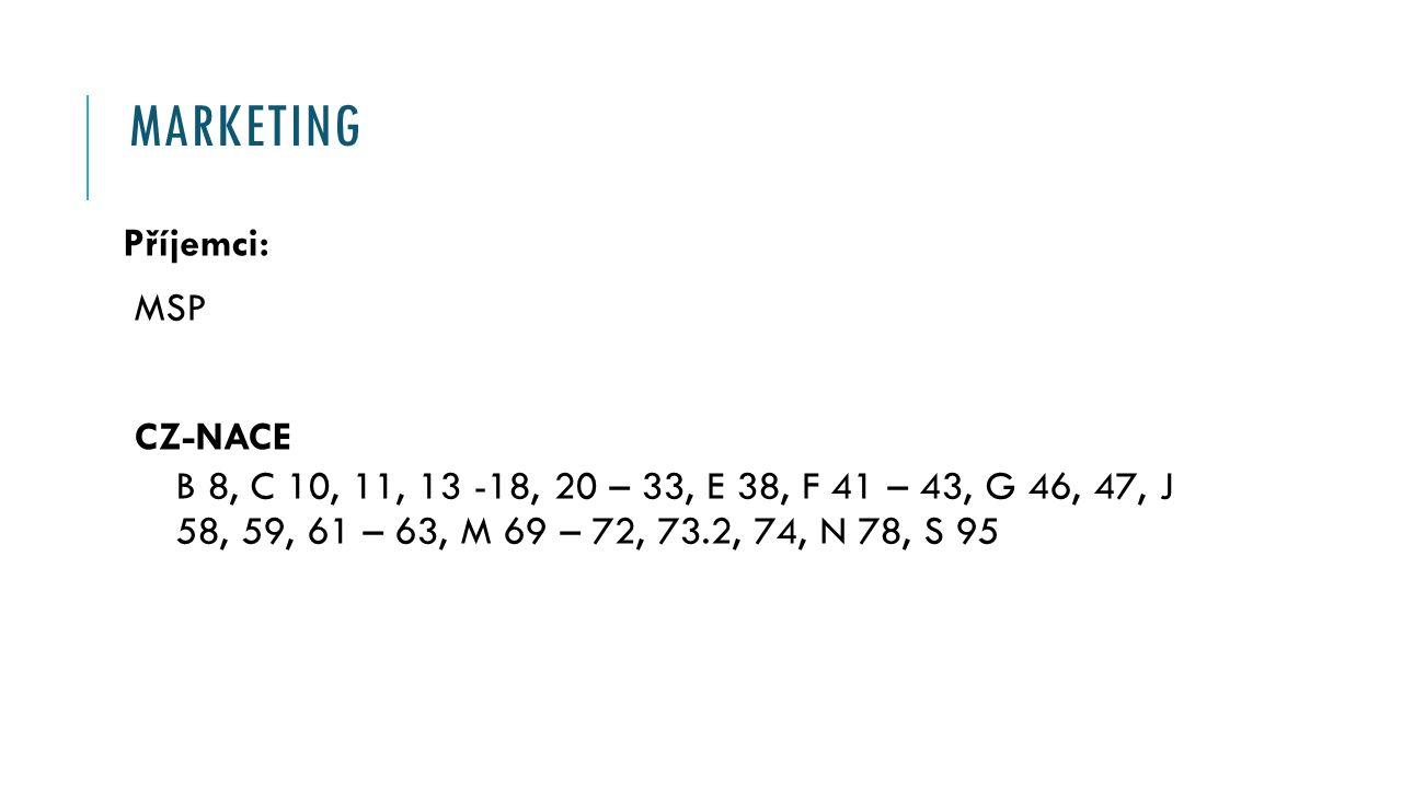 MARKETING Příjemci: MSP CZ-NACE B 8, C 10, 11, 13 -18, 20 – 33, E 38, F 41 – 43, G 46, 47, J 58, 59, 61 – 63, M 69 – 72, 73.2, 74, N 78, S 95