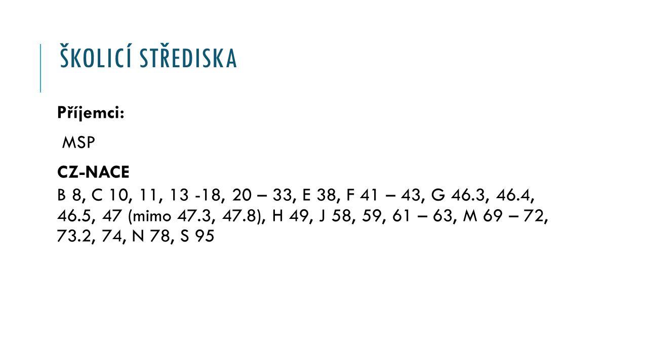ŠKOLICÍ STŘEDISKA Příjemci: MSP CZ-NACE B 8, C 10, 11, 13 -18, 20 – 33, E 38, F 41 – 43, G 46.3, 46.4, 46.5, 47 (mimo 47.3, 47.8), H 49, J 58, 59, 61 – 63, M 69 – 72, 73.2, 74, N 78, S 95
