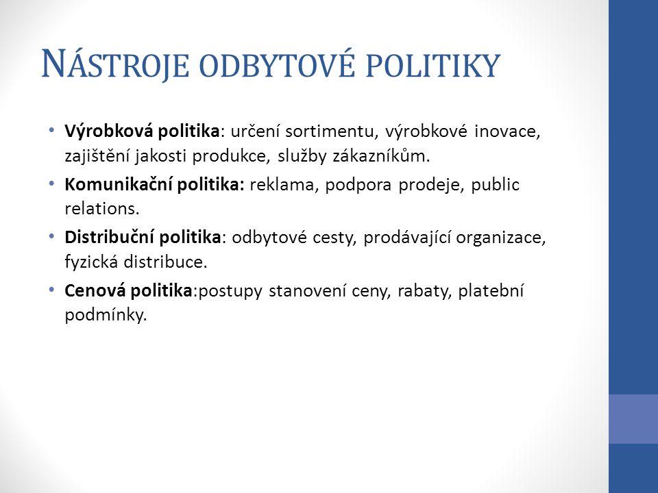N ÁSTROJE ODBYTOVÉ POLITIKY Výrobková politika: určení sortimentu, výrobkové inovace, zajištění jakosti produkce, služby zákazníkům.