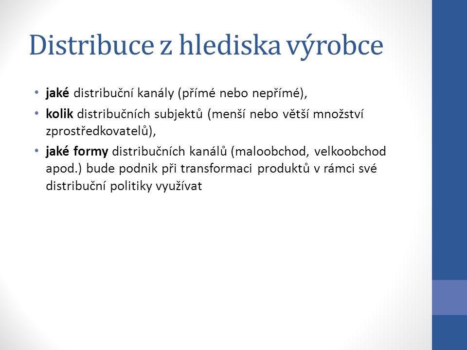Distribuce z hlediska výrobce jaké distribuční kanály (přímé nebo nepřímé), kolik distribučních subjektů (menší nebo větší množství zprostředkovatelů), jaké formy distribučních kanálů (maloobchod, velkoobchod apod.) bude podnik při transformaci produktů v rámci své distribuční politiky využívat