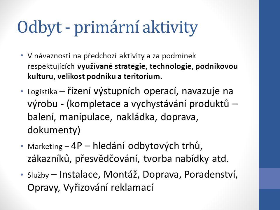 Odbyt - primární aktivity V návaznosti na předchozí aktivity a za podmínek respektujících využívané strategie, technologie, podnikovou kulturu, velikost podniku a teritorium.