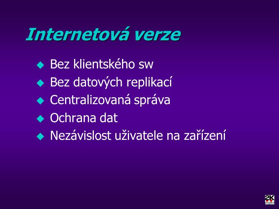 Internetová verze u Bez klientského sw u Bez datových replikací u Centralizovaná správa u Ochrana dat u Nezávislost uživatele na zařízení