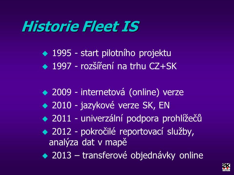 Historie Fleet IS u 1995 - start pilotního projektu u 1997 - rozšíření na trhu CZ+SK u 2009 - internetová (online) verze u 2010 - jazykové verze SK, EN u 2011 - univerzální podpora prohlížečů u 2012 - pokročilé reportovací služby, analýza dat v mapě u 2013 – transferové objednávky online