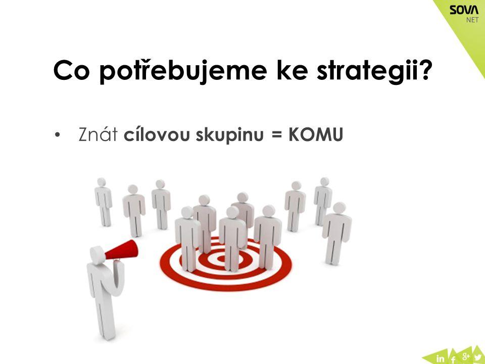 Co potřebujeme ke strategii? Znát cílovou skupinu = KOMU