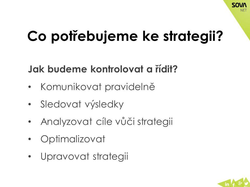 Co potřebujeme ke strategii. Jak budeme kontrolovat a řídit.