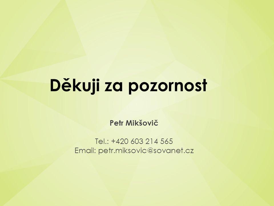 Děkuji za pozornost Petr Mikšovič Tel.: +420 603 214 565 Email: petr.miksovic@sovanet.cz
