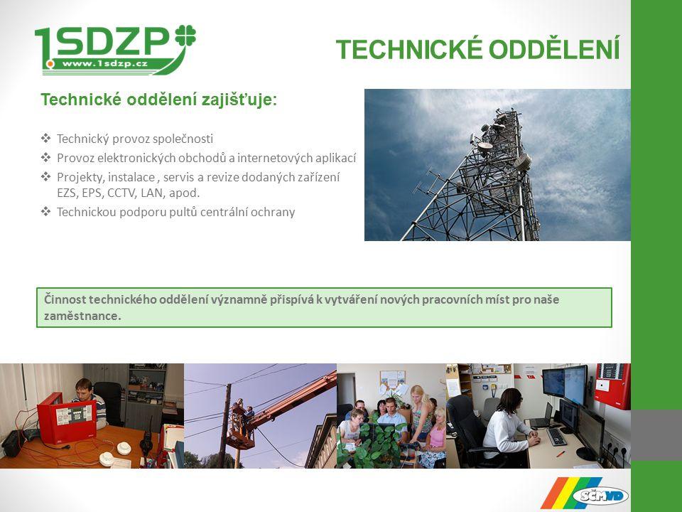 TECHNICKÉ ODDĚLENÍ Technické oddělení zajišťuje:  Technický provoz společnosti  Provoz elektronických obchodů a internetových aplikací  Projekty, instalace, servis a revize dodaných zařízení EZS, EPS, CCTV, LAN, apod.