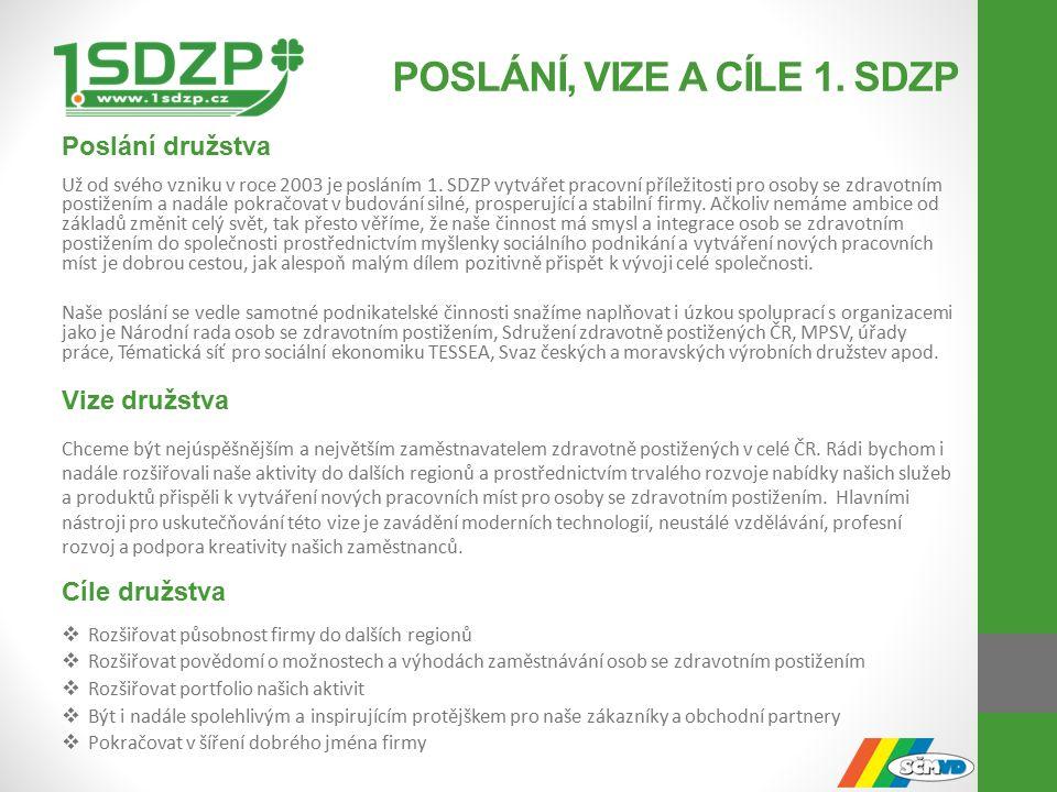 POSLÁNÍ, VIZE A CÍLE 1. SDZP Poslání družstva Už od svého vzniku v roce 2003 je posláním 1.