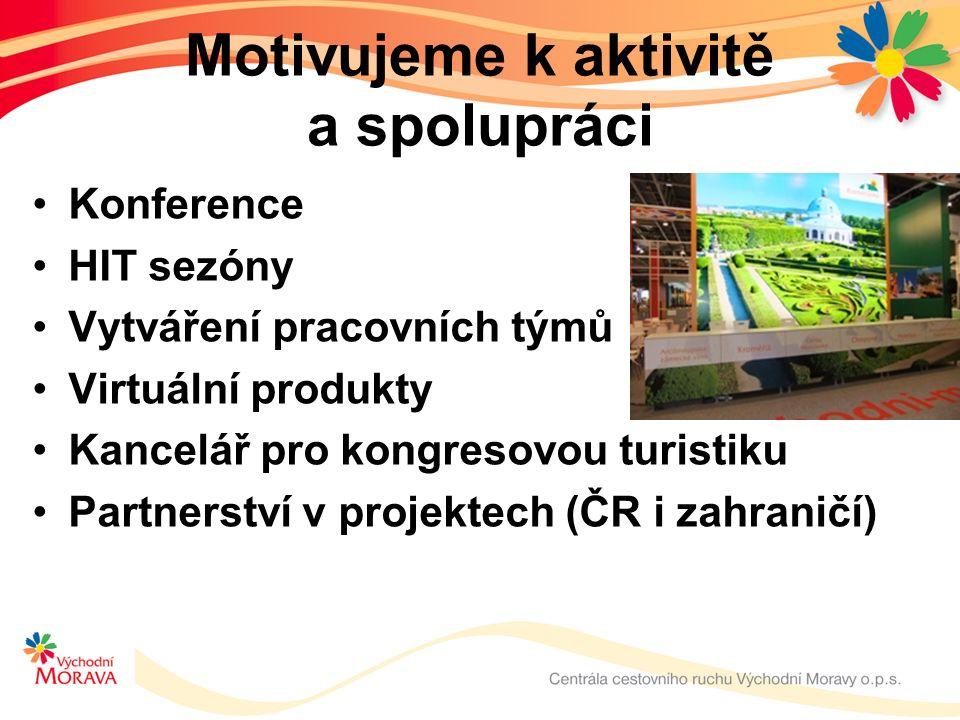 Motivujeme k aktivitě a spolupráci Konference HIT sezóny Vytváření pracovních týmů Virtuální produkty Kancelář pro kongresovou turistiku Partnerství v projektech (ČR i zahraničí)