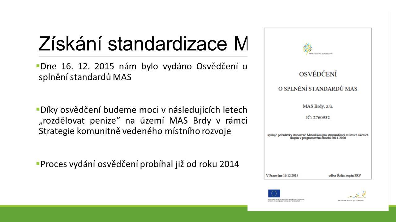 Získání standardizace MAS  Dne 16. 12.