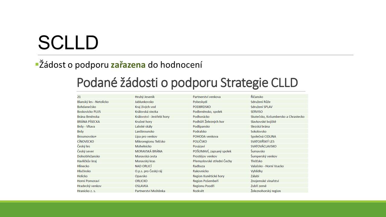 SCLLD  Žádost o podporu zařazena do hodnocení