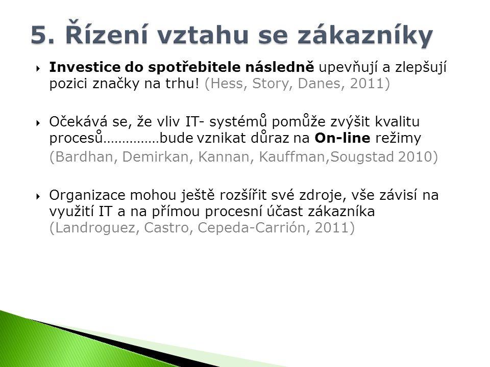  Investice do spotřebitele následně upevňují a zlepšují pozici značky na trhu! (Hess, Story, Danes, 2011)  Očekává se, že vliv IT- systémů pomůže zv