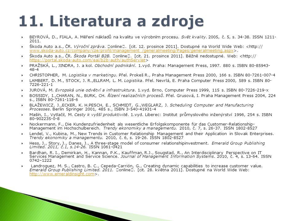  BEYROVÁ, D., FIALA, A. Měření nákladů na kvalitu ve výrobním procesu. Svět kvality. 2005, č. 5, s. 34-38. ISSN 1211- 2011.  Škoda Auto a.s., ČR. Vý