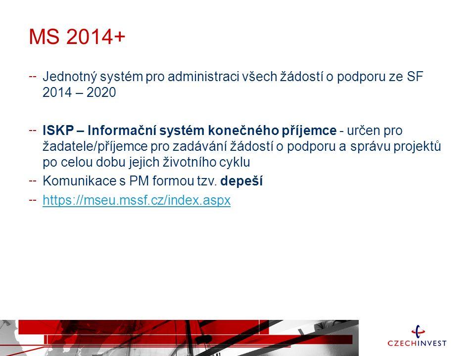 MS 2014+ Jednotný systém pro administraci všech žádostí o podporu ze SF 2014 – 2020 ISKP – Informační systém konečného příjemce - určen pro žadatele/příjemce pro zadávání žádostí o podporu a správu projektů po celou dobu jejich životního cyklu Komunikace s PM formou tzv.