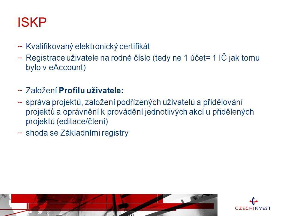 ISKP Kvalifikovaný elektronický certifikát Registrace uživatele na rodné číslo (tedy ne 1 účet= 1 IČ jak tomu bylo v eAccount) Založení Profilu uživatele: správa projektů, založení podřízených uživatelů a přidělování projektů a oprávnění k provádění jednotlivých akcí u přidělených projektů (editace/čtení) shoda se Základními registry