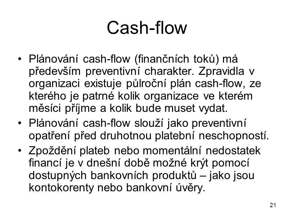 21 Cash-flow Plánování cash-flow (finančních toků) má především preventivní charakter. Zpravidla v organizaci existuje půlroční plán cash-flow, ze kte