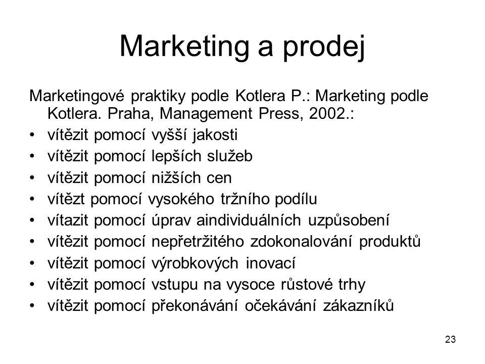 23 Marketing a prodej Marketingové praktiky podle Kotlera P.: Marketing podle Kotlera. Praha, Management Press, 2002.: vítězit pomocí vyšší jakosti ví